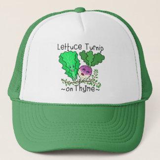 Funny Lettuce Turnip Thyme Vegetable Pun Cartoon Trucker Hat