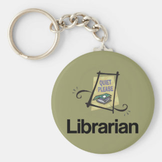 Funny Librarian Quiet Please Library Gift Keychain