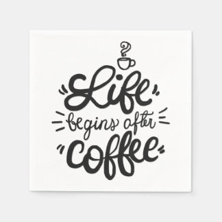 Funny Life Begins After Coffee | Napkin Disposable Napkin