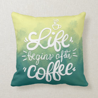 Funny Life Begins After Coffee   Throw Pillow