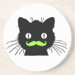 FUNNY LIME GREEN MUSTACHE VINTAGE BLACK CAT