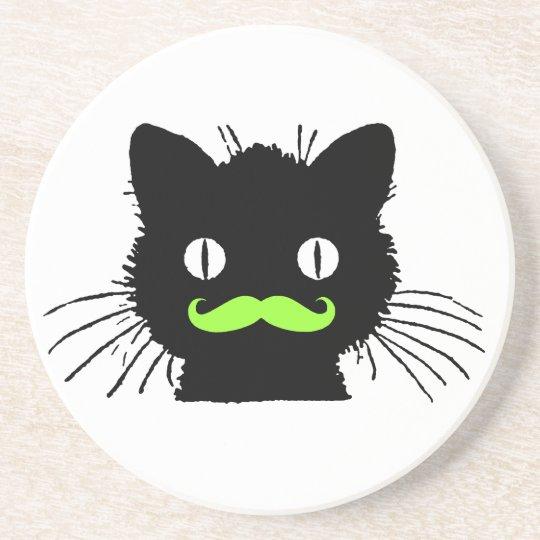 FUNNY LIME GREEN MUSTACHE VINTAGE BLACK CAT COASTER