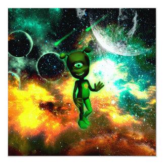 """Funny little alien 5.25"""" square invitation card"""