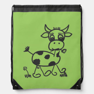 Funny Little Cow - sport bags colored Cinch Bag