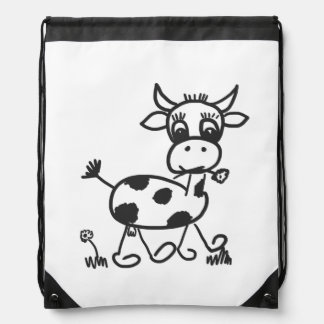 Funny Little Cow - sport bags Drawstring Bags