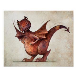 Funny Little Magical Dragon Poster