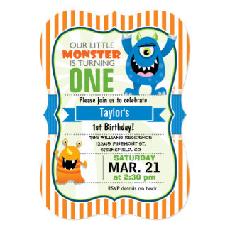 "Funny Little Monster Birthday Party 5"" X 7"" Invitation Card"