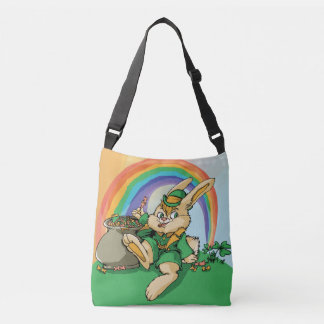Funny Little Saint Patrick Rabbit Crossbody Bag