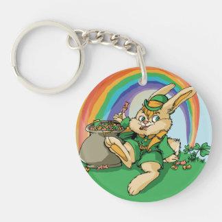 Funny Little Saint Patrick Rabbit Keychain