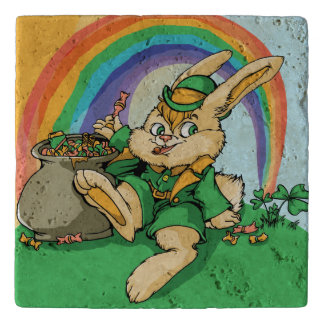 Funny Little Saint Patrick Rabbit Trivet