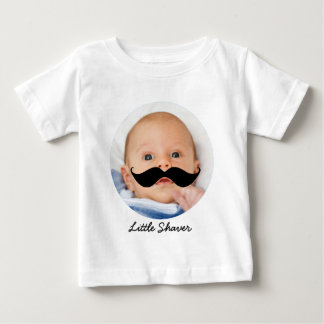 Funny Little Shaver Mustache with Photo of Son Baby T-Shirt