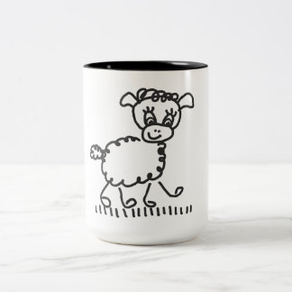 Funny Little Sheep - cup two-colored