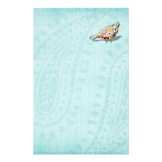 Funny Little Whimsical Bird Cute Blue Stationery