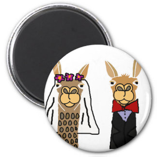 Funny Llama Bride and Groom Wedding Art 2 Inch Round Magnet