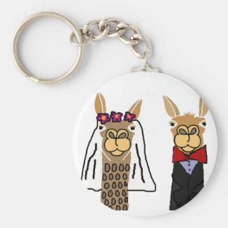 Funny Llama Bride and Groom Wedding Art Basic Round Button Keychain
