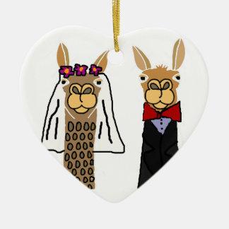 Funny Llama Bride and Groom Wedding Art Ceramic Heart Ornament