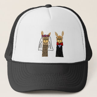 Funny Llama Bride and Groom Wedding Art Trucker Hat