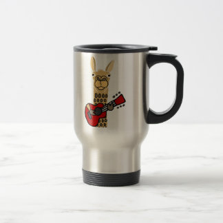 Funny Llama Playing Guitar Travel Mug