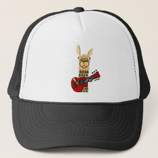 Funny Llama Playing Guitar Trucker Hat