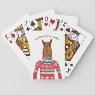 Funny Llama Wearing Ugly Christmas Nordic Sweater Playing Cards
