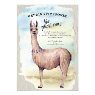 Funny Llama Wedding Postponed Date Change Invitation