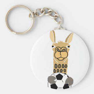 Funny Llama with Soccer Ball Art Keychain