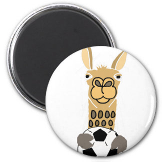 Funny Llama with Soccer Ball Art Magnet