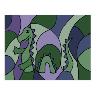 Funny Loch Ness Monster Abstract Art Postcard