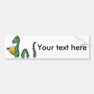 Funny Loch Ness Monster Drinking Beer Cartoon Bumper Sticker