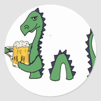 Funny Loch Ness Monster Drinking Beer Cartoon Classic Round Sticker