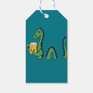 Funny Loch Ness Monster Drinking Beer Cartoon Gift Tags