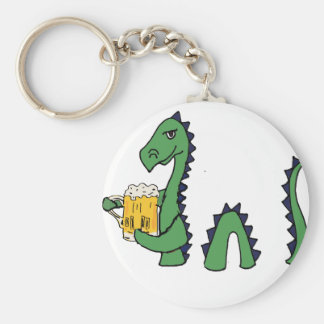 Funny Loch Ness Monster Drinking Beer Cartoon Keychain