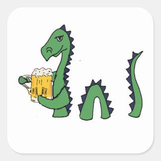 Funny Loch Ness Monster Drinking Beer Cartoon Square Sticker
