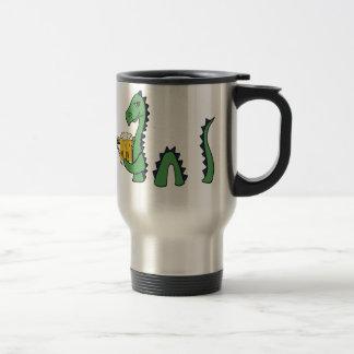Funny Loch Ness Monster Drinking Beer Cartoon Travel Mug