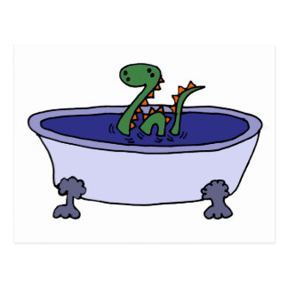 Funny Loch Ness Monster in Bathtub Postcard
