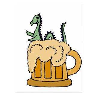Funny Loch Ness Monster in Beer Mug Postcard