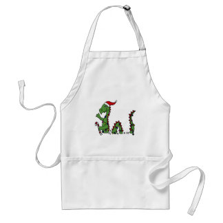 Funny Loch Ness Monster in Santa Hat Christmas Apron