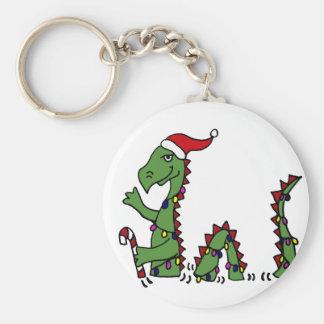 Funny Loch Ness Monster in Santa Hat Christmas Key Chain