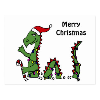 Funny Loch Ness Monster in Santa Hat Christmas Postcard