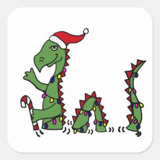 Funny Loch Ness Monster in Santa Hat Christmas Square Sticker