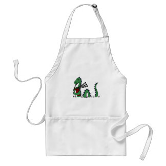 Funny Loch Ness Monster Playing Bagpipes Adult Apron