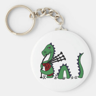 Funny Loch Ness Monster Playing Bagpipes Basic Round Button Keychain