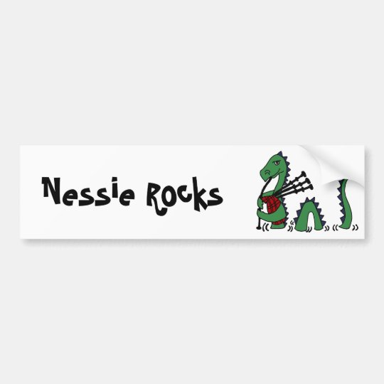 Funny Loch Ness Monster Playing Bagpipes Bumper Sticker