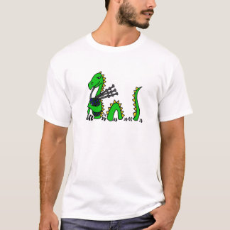 Funny Loch Ness Monster Playing Blue Bagpipes T-Shirt