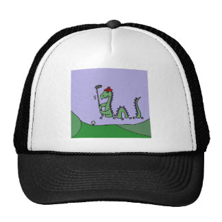 Funny Loch Ness Monster Playing Golf Trucker Hat