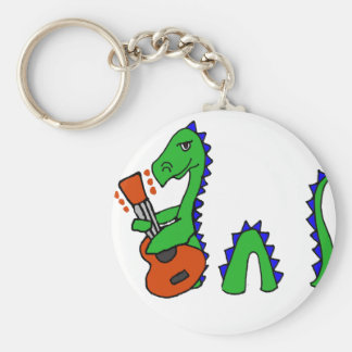 Funny Loch Ness Monster Playing Guitar Art Keychain