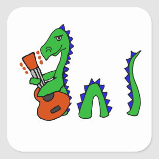Funny Loch Ness Monster Playing Guitar Art Square Sticker