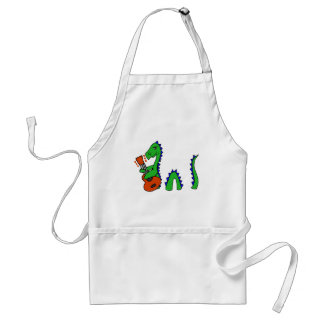 Funny Loch Ness Monster Playing Guitar Art Standard Apron