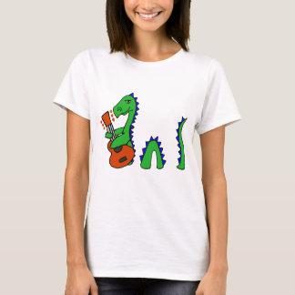 Funny Loch Ness Monster Playing Guitar Art T-Shirt