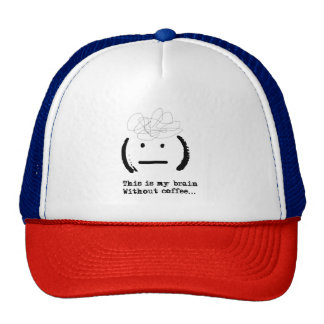 Funny Lol My Brain Without Coffee Emoji Typography Trucker Hat